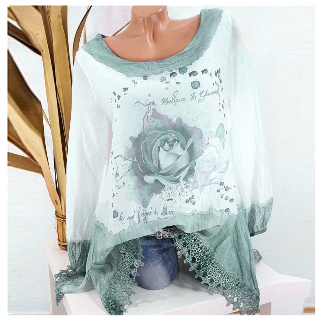 Clearance Sale Fashion T Shirts for Women - vermers Women Plus Size Lace Print Long Sleeve Blouse Pullover Tops(4XL, Green)
