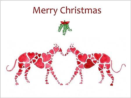 Pack de 12 – Tarjetas de Navidad (Navidad tarjetas) Greyhound Whippet, perro italiano – regalo: Amazon.es: Hogar