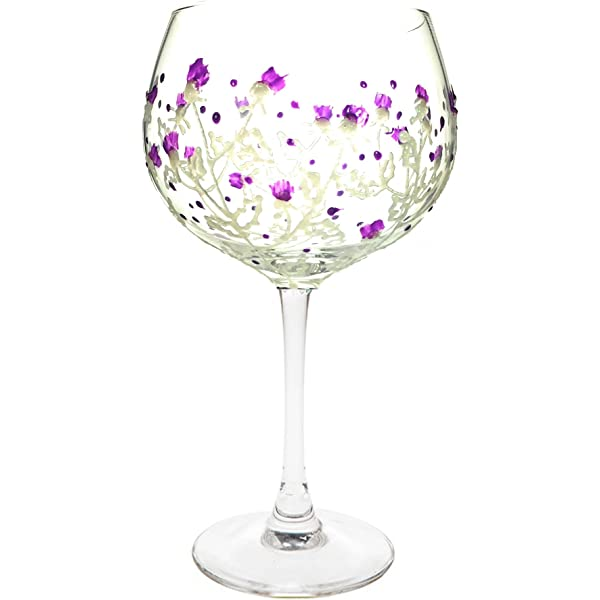Sunny By Sue Hand Painted Gin /& Tonic Large Heather Balloon Glass Boxed 26