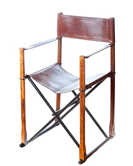 Abigails Brown Leather Folding Directors Chair, 20 By 18 By 34.25 Inch