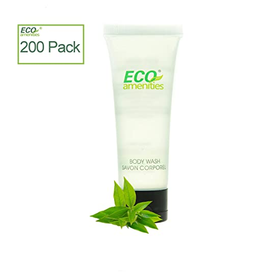ECO AMENITIES Travel size 1.1oz hotel body wash in bulk, Clear, Green Tea, 200 Count