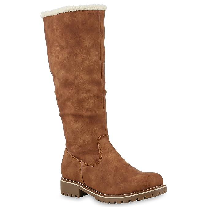 Gefütterte Damen Stiefel Flache Winterstiefel Kunstpelz Boots Schuhe 126975 Braun 39 Flandell wucCjn