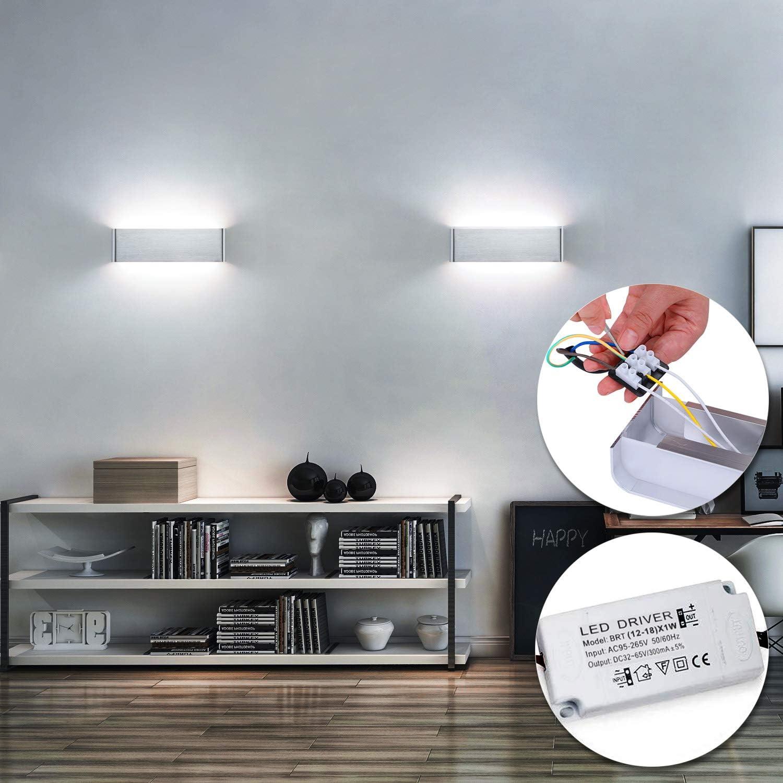 Lightess 16W Apliques de Pared LED Lámpara de Pared Interior Moderna Luz de Aluminio Acrílico Iluminación para Salón Sala de Estar Dormitorio Baño Escalera (blanco frío, plata): Amazon.es: Iluminación
