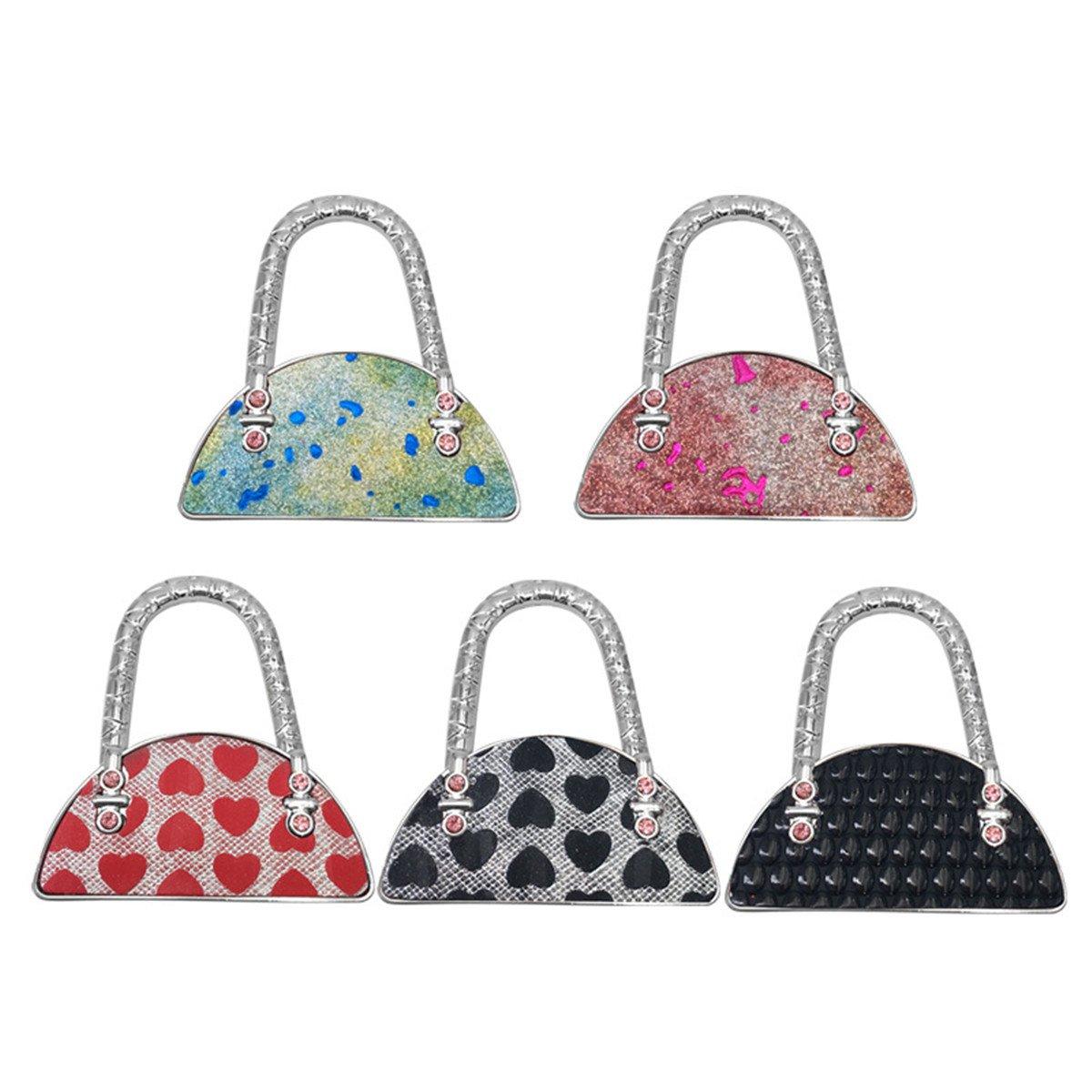 Reizteko Purse Hook,Sector Fan-Shaped Handbnag Foldable Handbag Purse Hanger Hook Holder for Tables (Pack of 5)