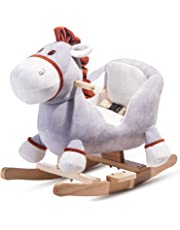 Merax Schaukeltier für Kinder und Baby, spezieller Schaukelpferd Schaukelstuhl Schaukelspielzeug Plüschschaukel (Esel)