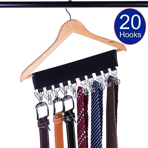 Gancho organizador de corbatas para cinturón, 20 ganchos para ...