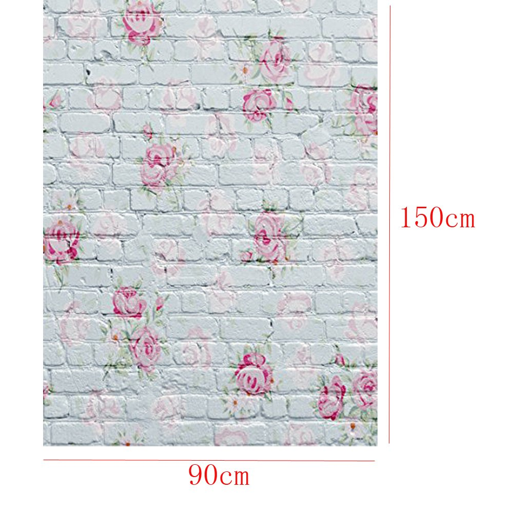 OMG_Shop 3x5ft White Brick Wall Photography Background Photo Backdrops Pink Flowers Studio Props for Baby Newborn-Pink Flower 4332085415