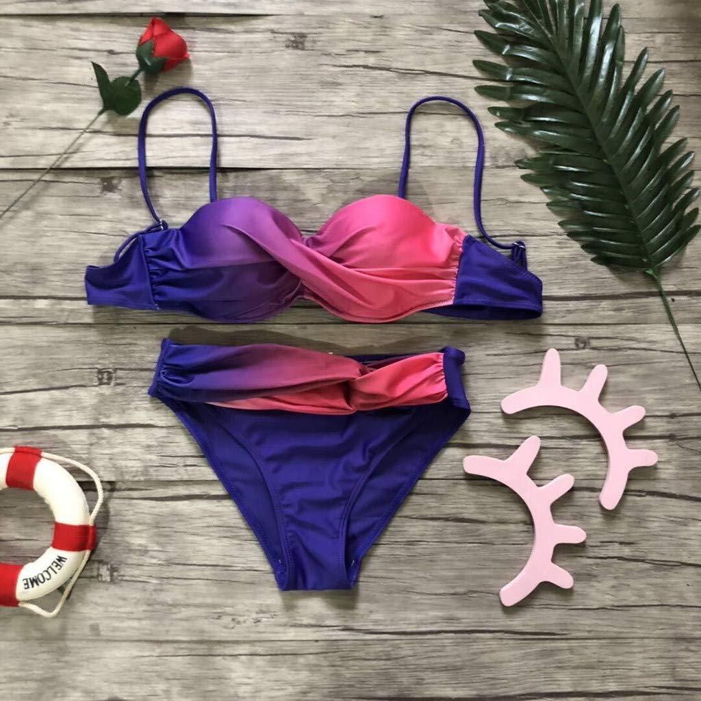Adeliber Womens Swimwear Beachwear Gradient Print Two-Piece Bikini Lace Swimsuit Swimsuit