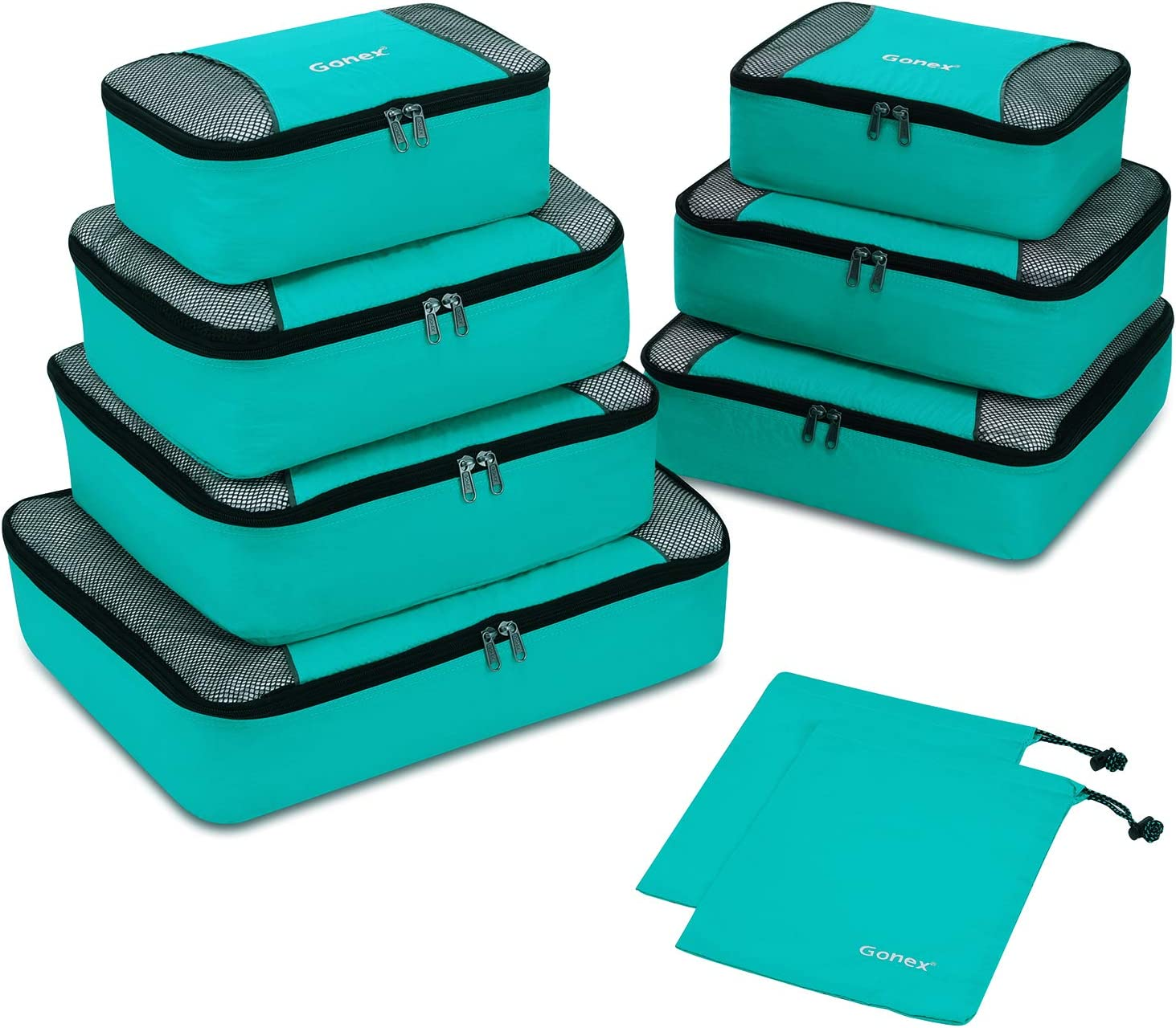 Organizador para Maleta Equipaje, Gonex Bolsas de Viajes Cubos de Embalaje Almacenaje Impermeable para Ropa Zapatos Cosméticos Accesorios Portátil Neceser de Viaje Tocador, Kit de 9 PCS (Azul Claro)