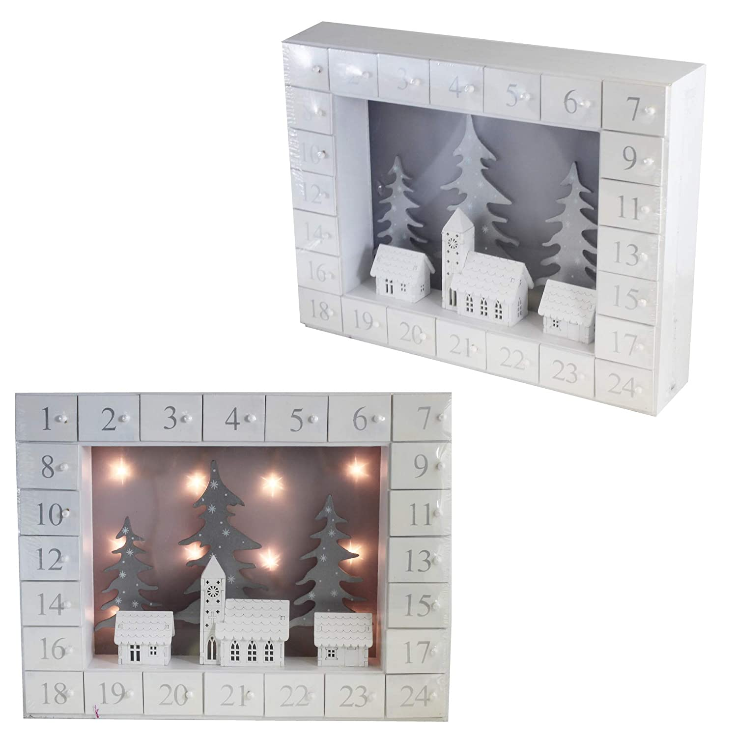 The Uk Candle Company Christmas Wooden Advent Calendar Light Up Houses Design - Add your own Treats