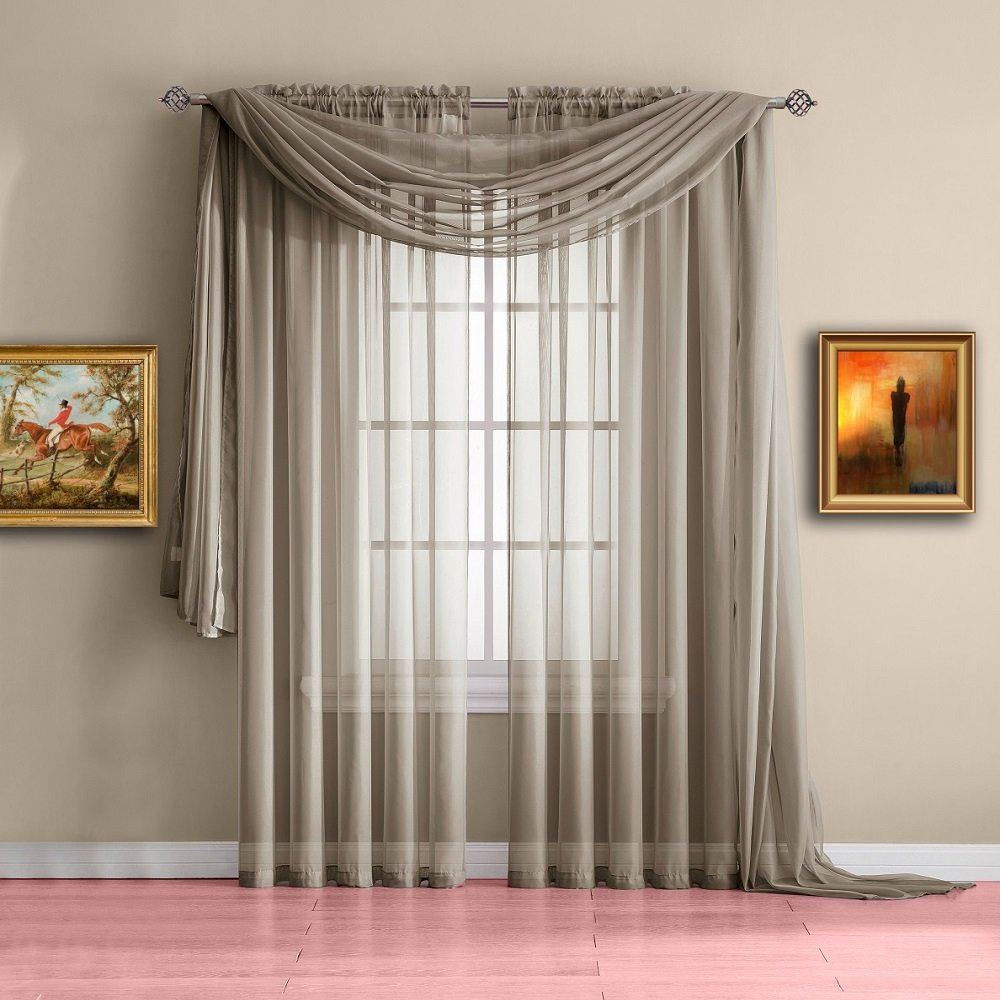 Warm Home Designs Standard Length Brown Taupe Sheer Window Scarf. Valance Scarves are 56 X 144 Inches in Size. Great As Window Treatments, Bed Canopy Or for Decorative Project. Color: Taupe 144