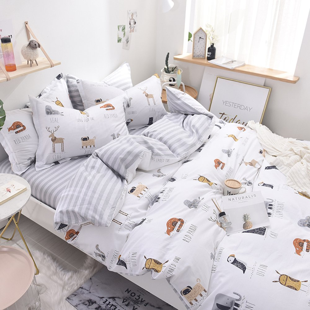 Enjoylife Cute Animal Reversible 3pcs Bedding Set Printing Cartoon Cute pet Duvet Cover Super Soft for Children/Adults 100% Cotton Comforter Cover Full Queen Size by EnjoyLife Inc (Image #5)