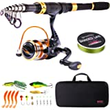 Sougayilang Fishing Rod Reel Combos Carbon Fiber Telescopic Fishing Pole with Spinning Reel for Travel Saltwater…