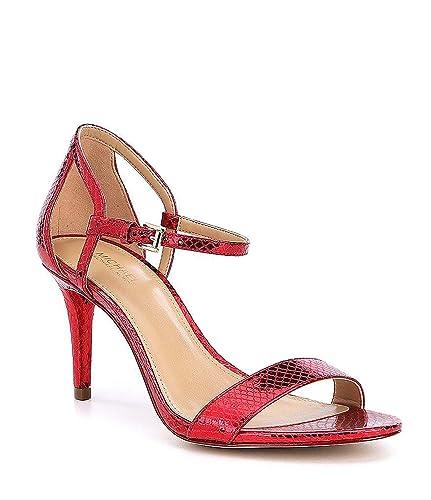 c0af609117ca Michael Michael Kors Women s Red Simone Embossed Snake Print Mid Dress  Sandals ...