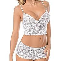 Kisshes Conjunto de Bikini con Correa de Espagueti para Mujer Conjunto de Dos Piezas de Encaje con Ropa de Dormir con Tanga Camisolas