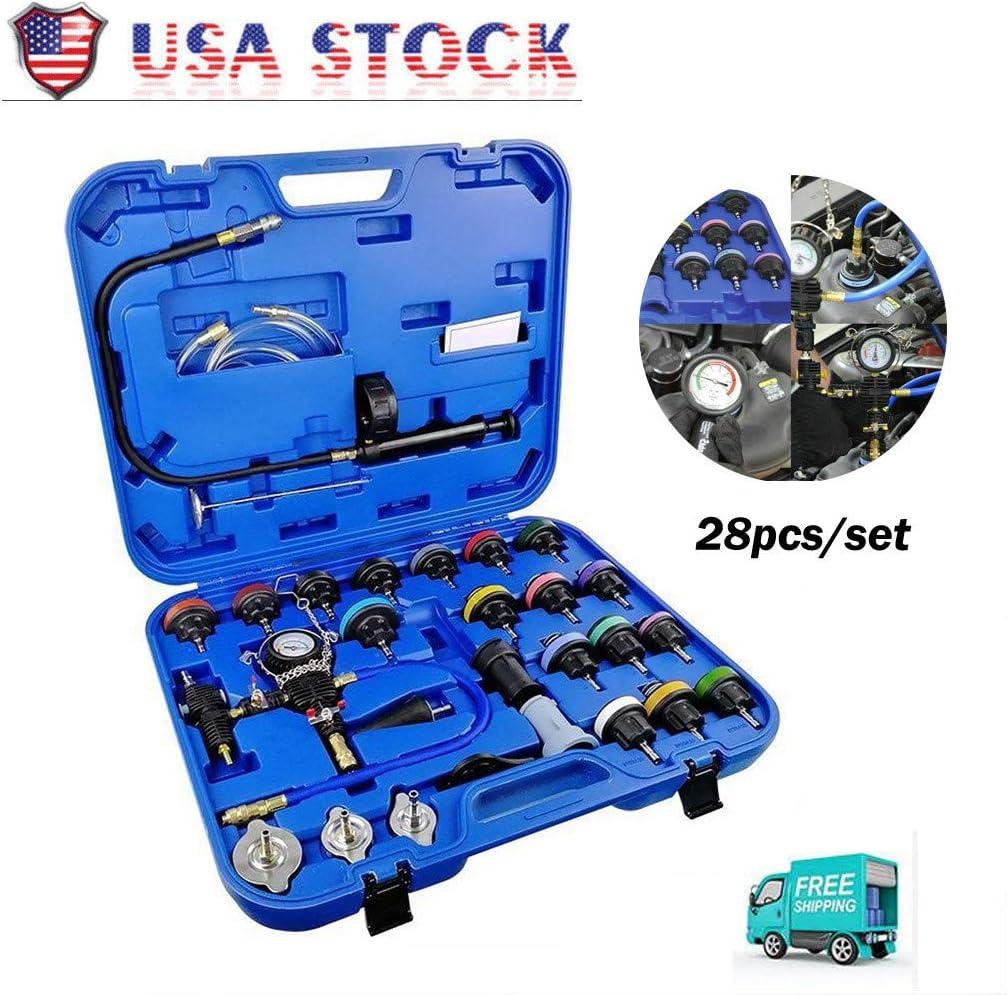 28 PCS Universal Radiator Pressure Tester Leak Checker Kit,Coolant Vacuum Type Cooling System Automotive Radiator Pressure Test Kit Purge and Refill Kit Coolant Pressure Tester,w/Case,0-35 psi