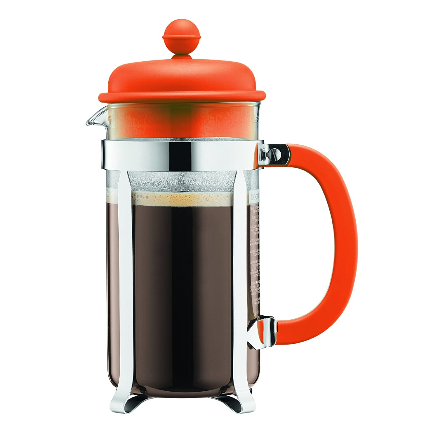 BODUM Caffettiera 3 Cup French Press Coffee Maker, Orange, 0.35 l, 12 oz 1913-948B-Y17