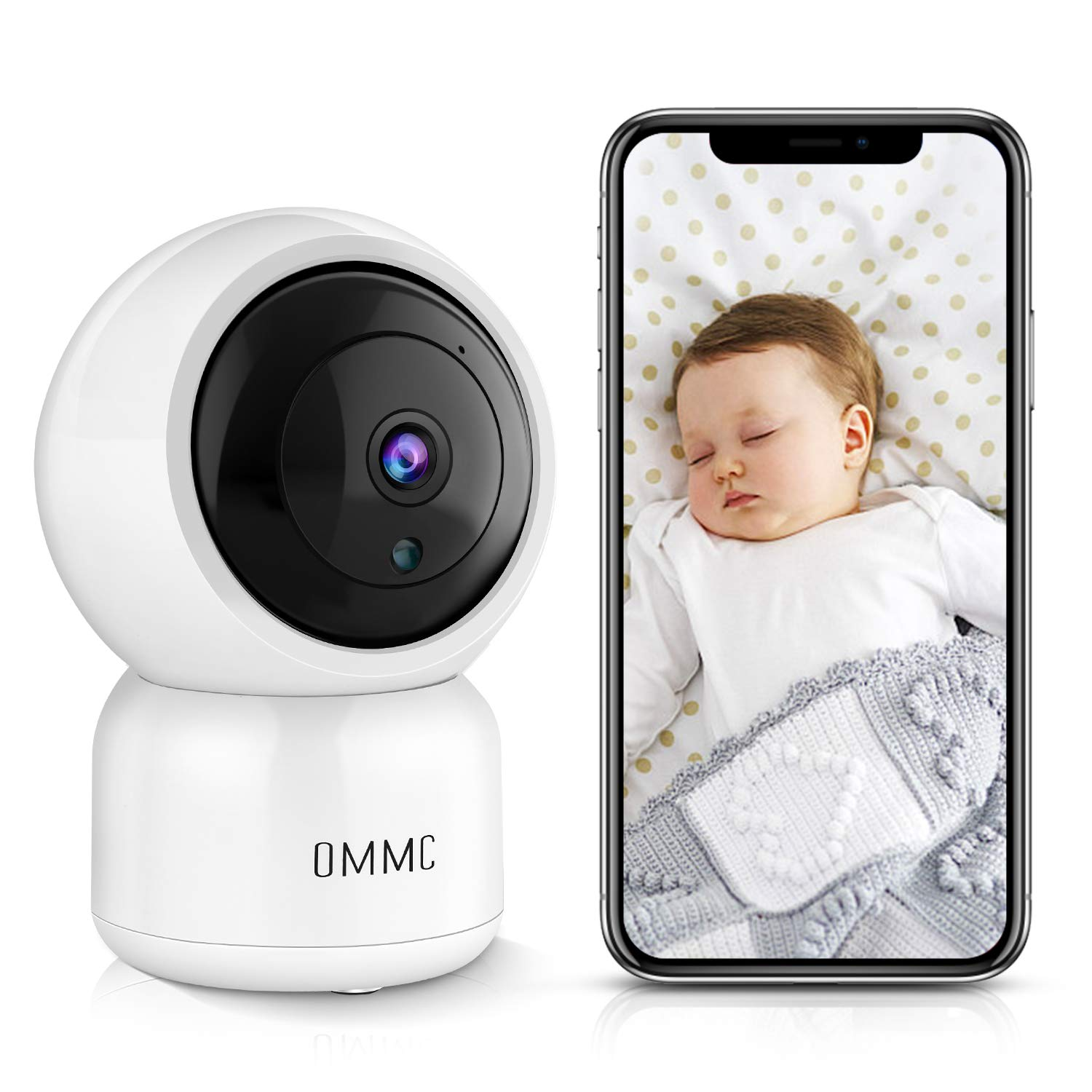 OMMC Wireless Security Camera 1080P, Baby Monitor Home IP Camera with Night Vision/2-Way Audio/Motion Detection,Works with Alexa by OMMC