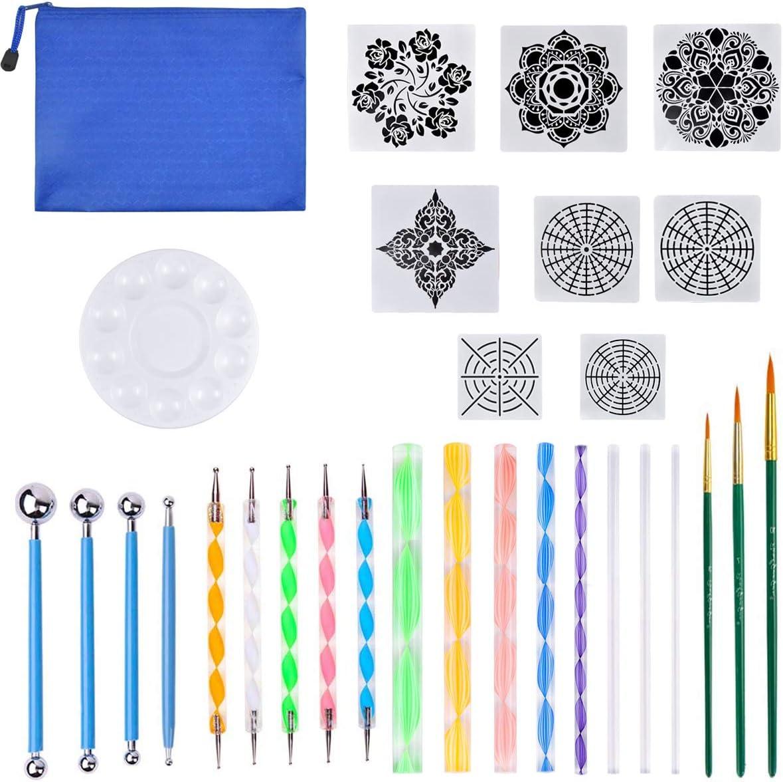 Pennelli Kit per la Pittura su Roccia Dokpav Mandala Kit Set di 30 Strumenti Mandala Completo di Stencil Mandala,Strumenti per Pittura Colorazione e Disegno Vassoio