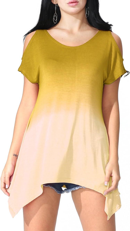 d22bd082aeae1  13.99 –  18.99. Prime Hot JayJay Women U-neck Cold Shoulder Short Sleeve  Tie Dye Print Tunic Top