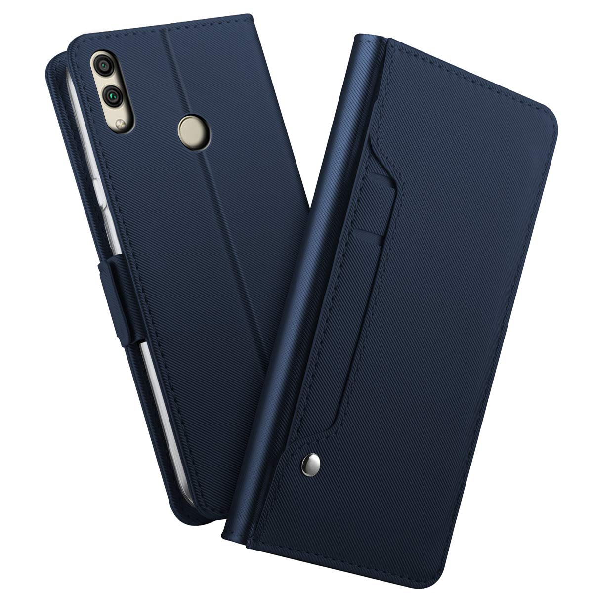 Huawei Honor 8C Case, Fusutonus Durable and Slim Faux Leather, Lightweight and Flip Folio Design with Kickstand Card Holder, Full Protective Mirror Case for Huawei Honor 8C - Blue I9WA-GQ-671