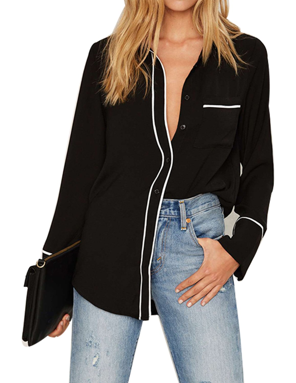 Haoduoyi Women's Casual Lapel Long Sleeve Pajamas Style Loose Shirt Blouse(M,Black) by HaoDuoYi