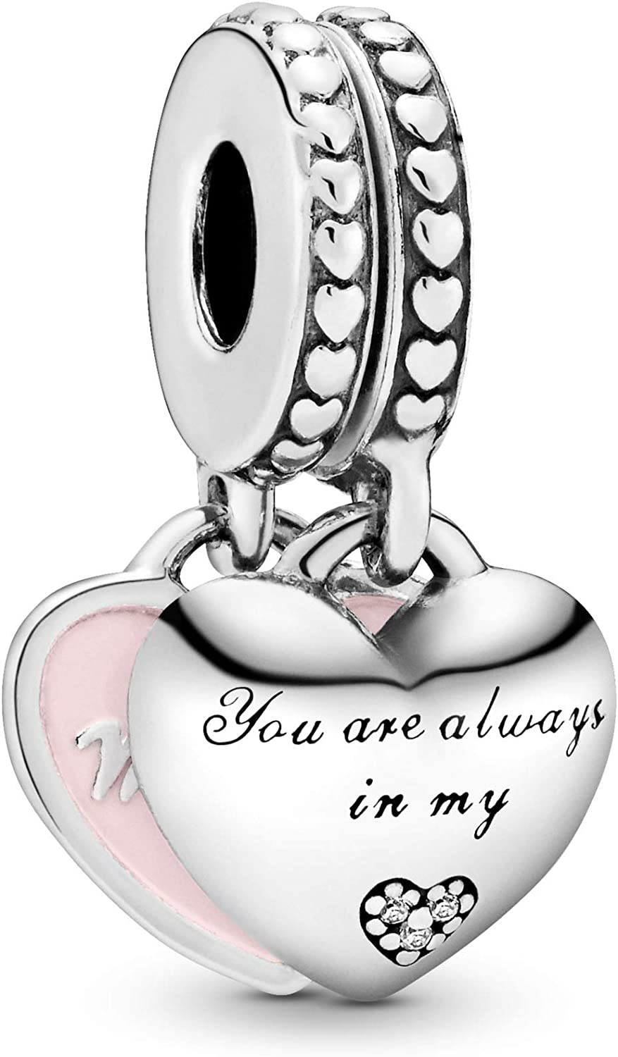 Pandora Jewelry Mother and Daughter Hearts Dangle Cubic Zirconia Charm in Sterling Silver