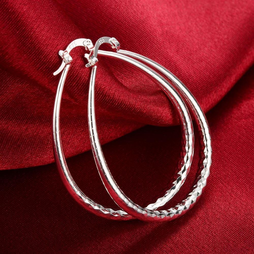 Jesming 925 Sterling Silver Textured Ear Studs Large Round Hoop Earrings