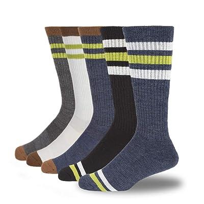+MD 5 Pack Men's Merino Wool Hiking Socks-Thermal Warm Stripe Cushioned Athletic Socks: Clothing