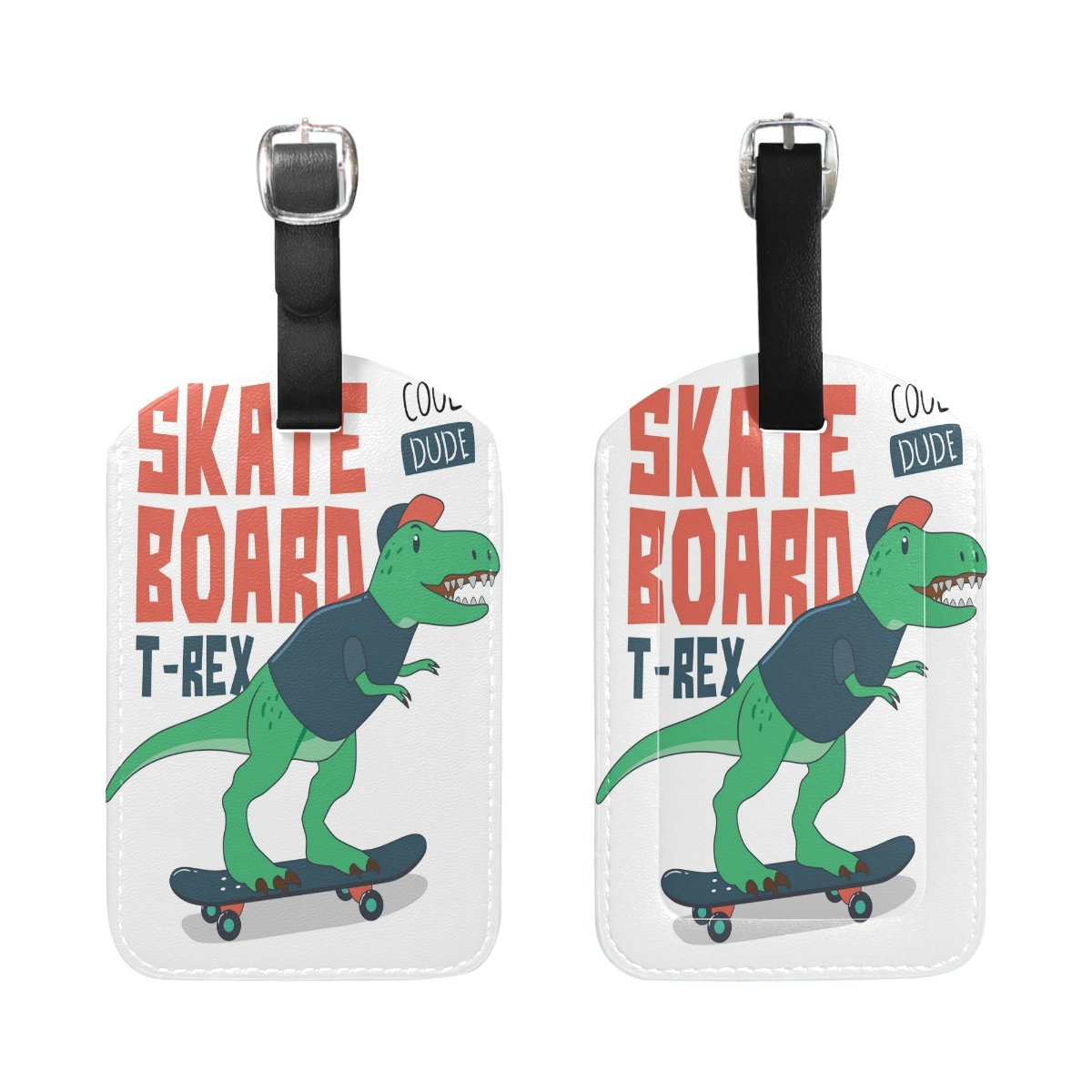 Saobao Travel Luggage Tag Dinosaur On Skateboard PU Leather Baggage Suitcase Travel ID Bag Tag 1Pcs