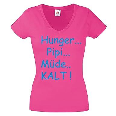 Hunger Pipi Mude Kalt V Neck Damen T Shirt Gr S Xxl Lustige Spruche