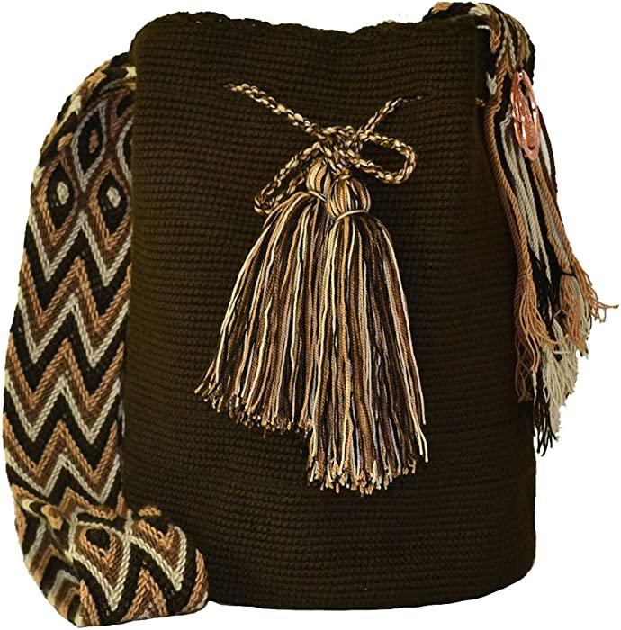 Amazon.com: New & Authentic Wayuu Mochila Bag, Ethnic, Crochet, Hand-made, from Colombia (Umber): Clothing