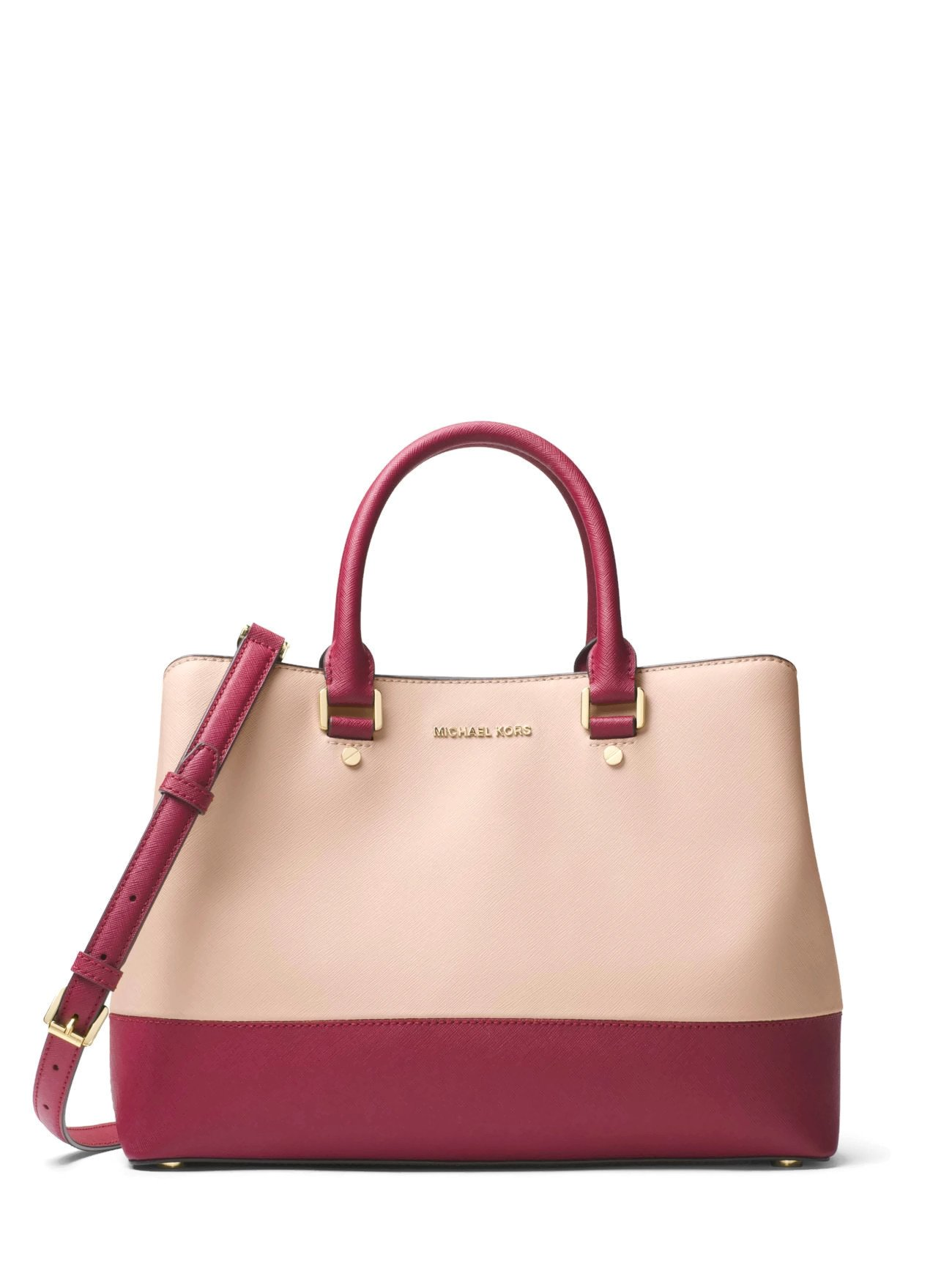 MICHAEL Michael Kors Savannah Large Satchel (Soft Pink/Mulberry) by Michael Kors