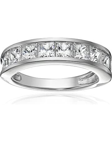 35d22a14d Platinum-Plated Sterling Silver Swarovski Zirconia Princess-Cut Channel-Set  Band Ring