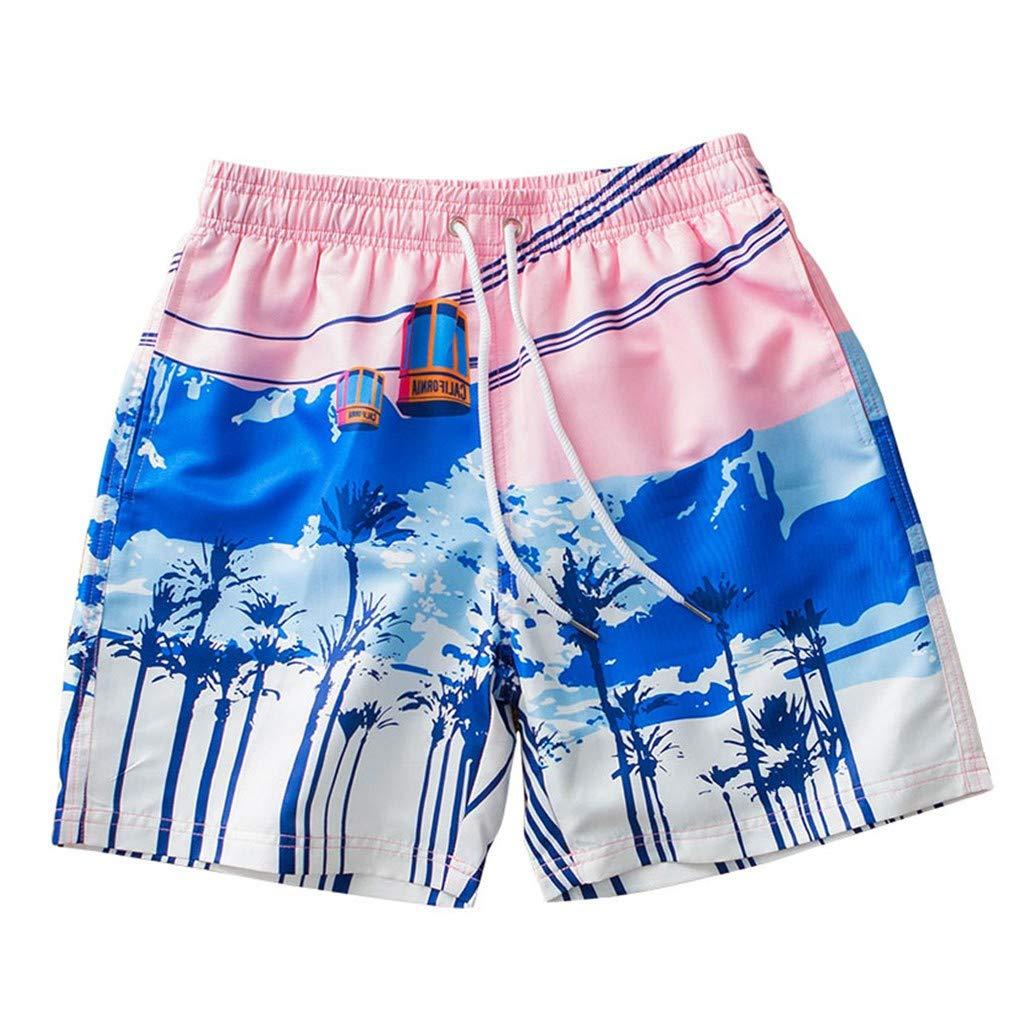 MODOQO Mens Swim Trunks Quick Dry Summer Loose Fit Straight Mid Waist Surfing Running Swimming Shorts