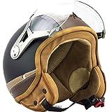 SOXON SP-325-URBAN Black · Cruiser Biker Pilot Demi-Jet Chopper Bobber Mofa Casque Jet Scooter Moto Vespa Retro Vintage Helmet · ECE certifiés · conception en cuir · visière inclus · y compris le sac de casque · Noir · L (59-60cm)