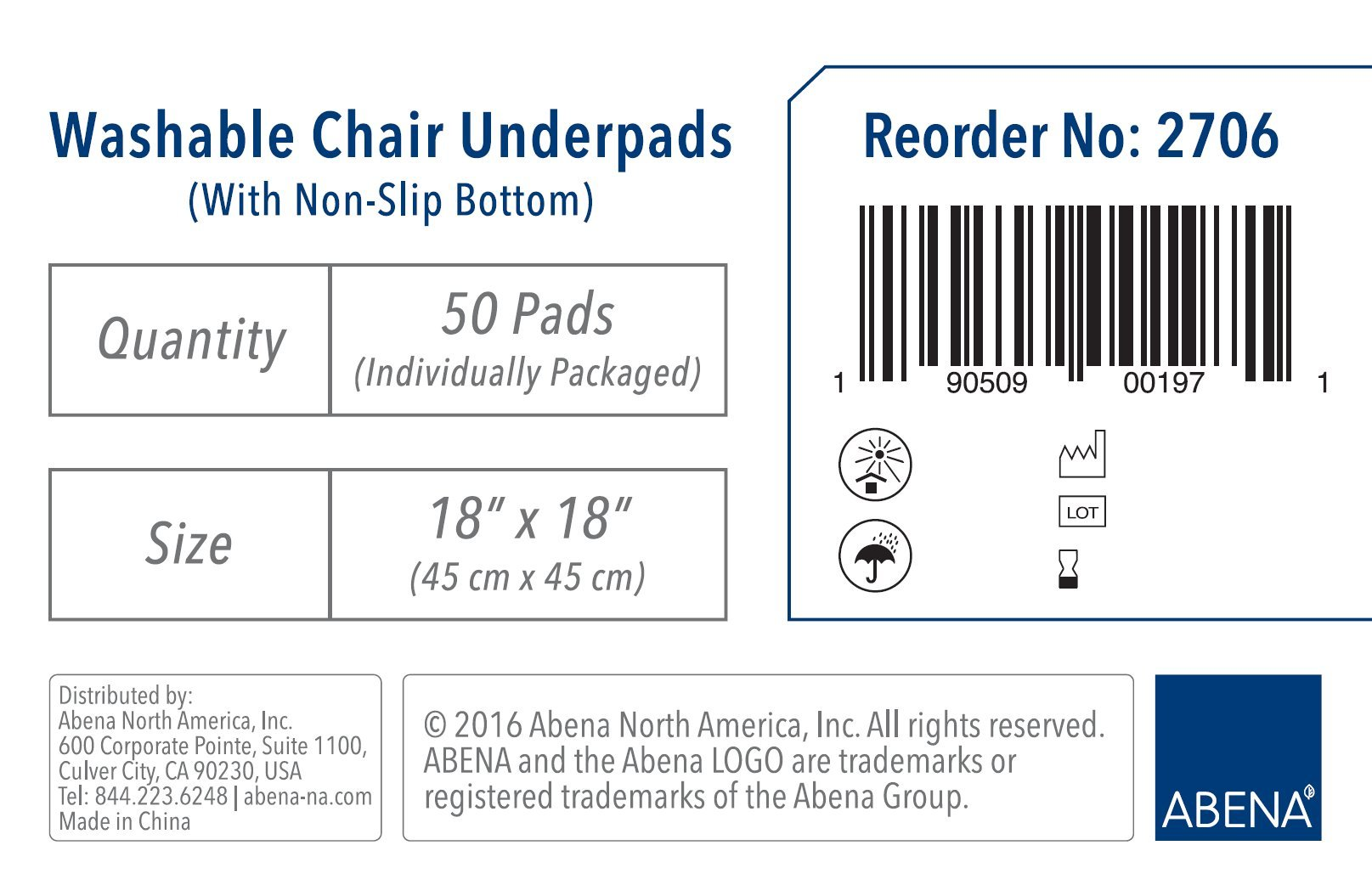 Abena Essentials Washable Chair Underpad, 18'' x 18'', 50 count