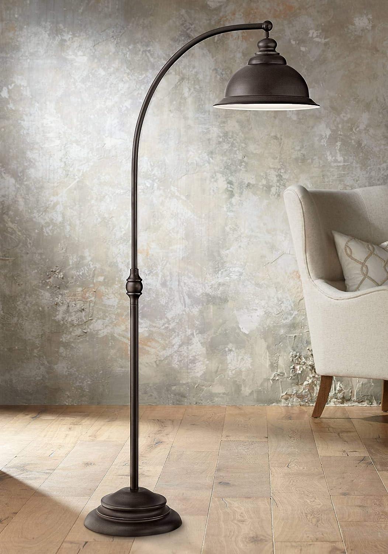 Wyatt II Farmhouse Arc Floor Lamp Dark Bronze Metal Shade Step Switch for Living Room Reading Bedroom Office – Franklin Iron Works