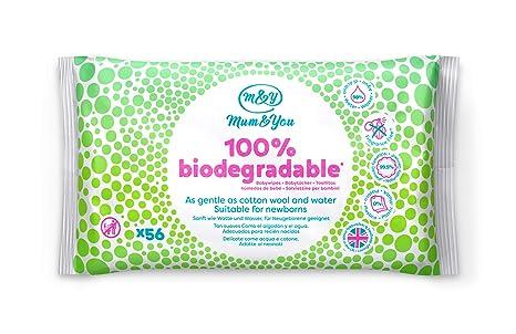 Mum & You Toallitas Húmedas Para Bebés 100% Biodegradables, Paquete De 18, (1008 Toallitas En Total). 98% De Agua, 0% De Plástico, Hipoalergénico Y ...