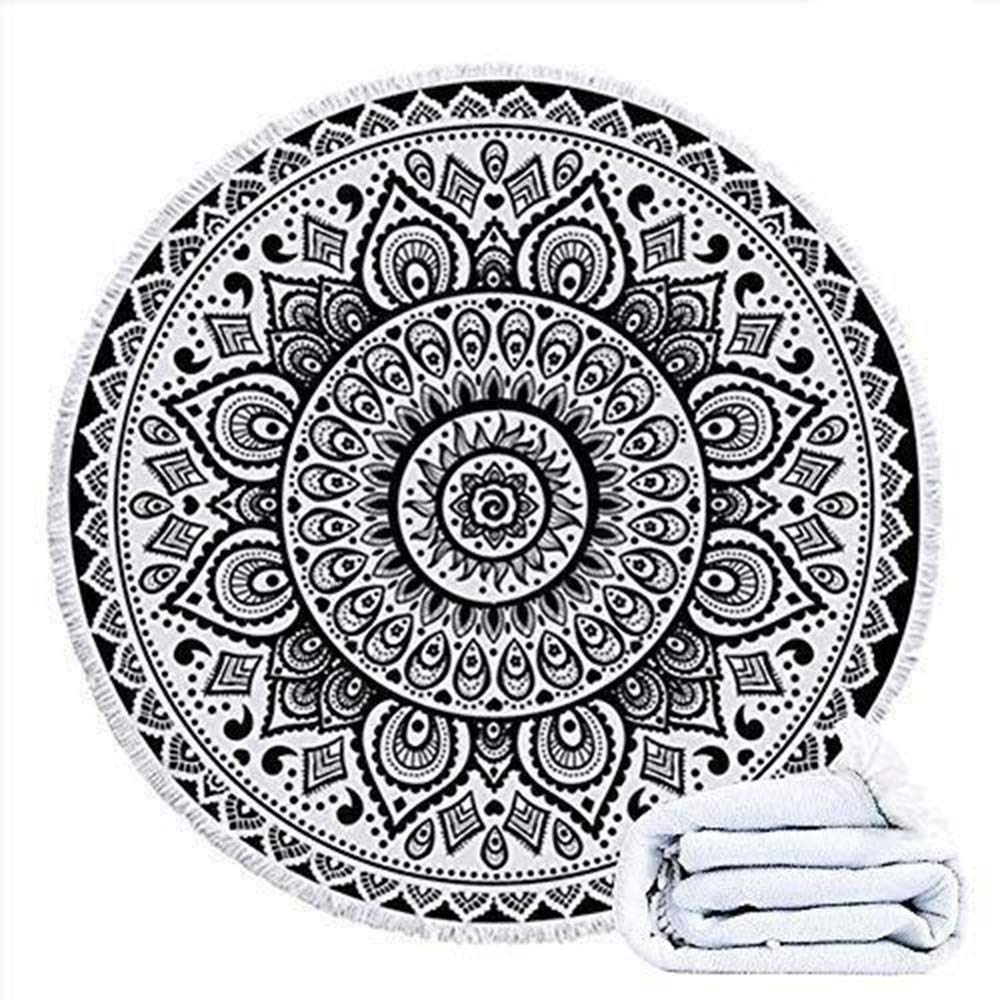 ETH Round Beach Towels Tapestry Hippie, 59 Inch Mandala Throw Blanket Table Cloth Tassel Swim Pool Shawl Camping Durable by ETH