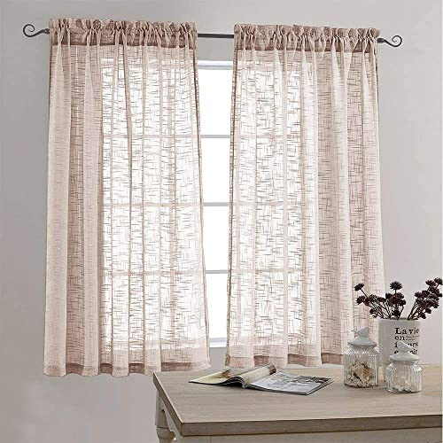 Sheer Curtains Linen Look Voile Curtains for Living Room 63 Inch Long Open Weave Linen Textured Window Treatment for Bedroom Two Panels Taupe
