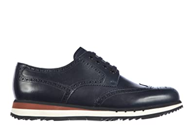 691f5d42c Prada Men s Classic Leather lace up Laced Formal Shoes Derby Montana blu UK Size  9 4E2645