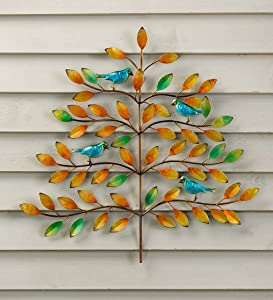 Plow & Hearth Indoor/Outdoor Colorful Tree of Life and Bluebird Hanging Wall Art Painted Metal Decor, Shimmering Painted Finish for Patio, Porch or Home, 24¼