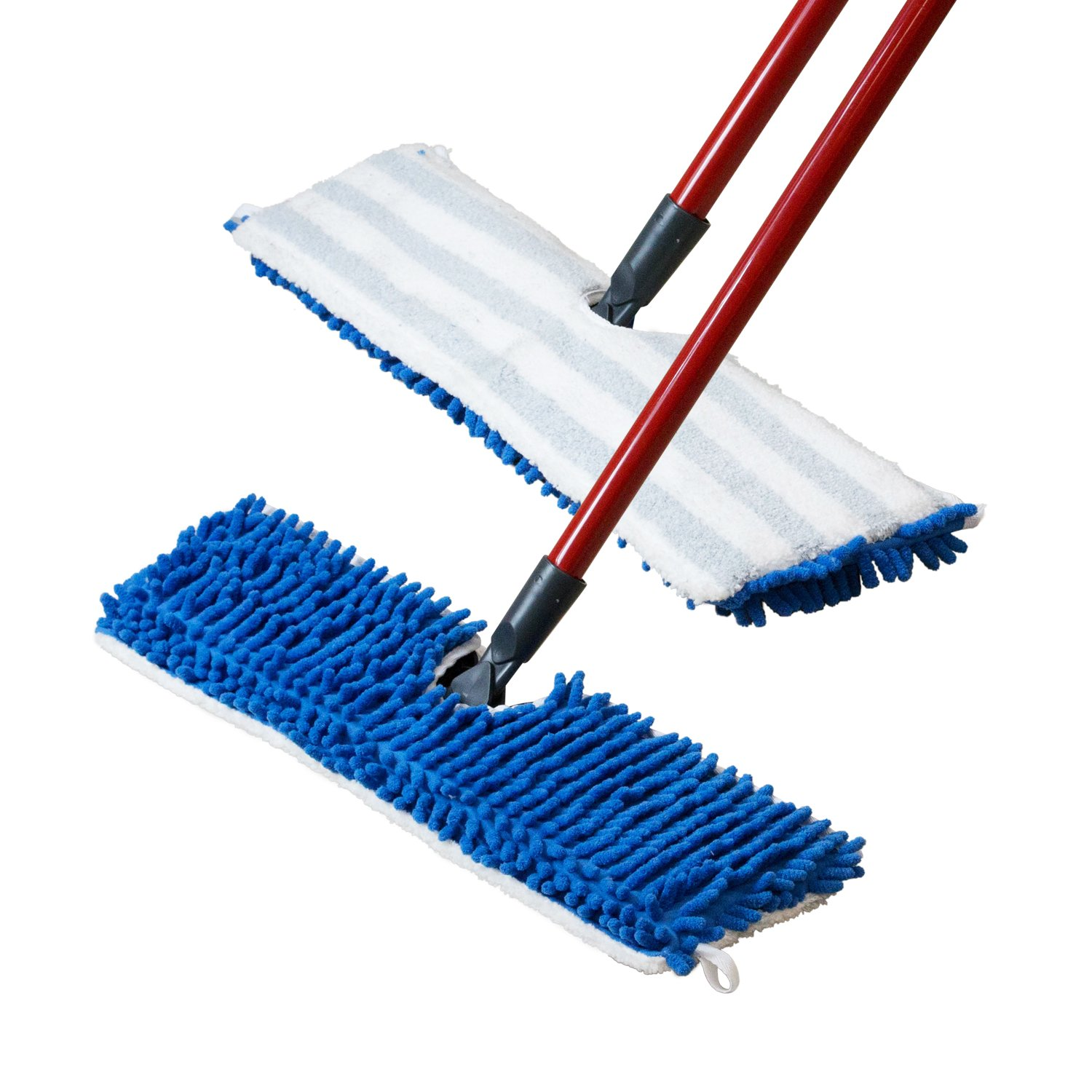 18 inch Houseables Flip Mop Refills All Surface Cleaning 18 L X 6 W TA Machine Washable Dual-Action Microfiber Head Floor Mops 3 Pack 18 L X 6 W Double Sided Velcro Flat Sponge Replacement Pads Dry//Wet