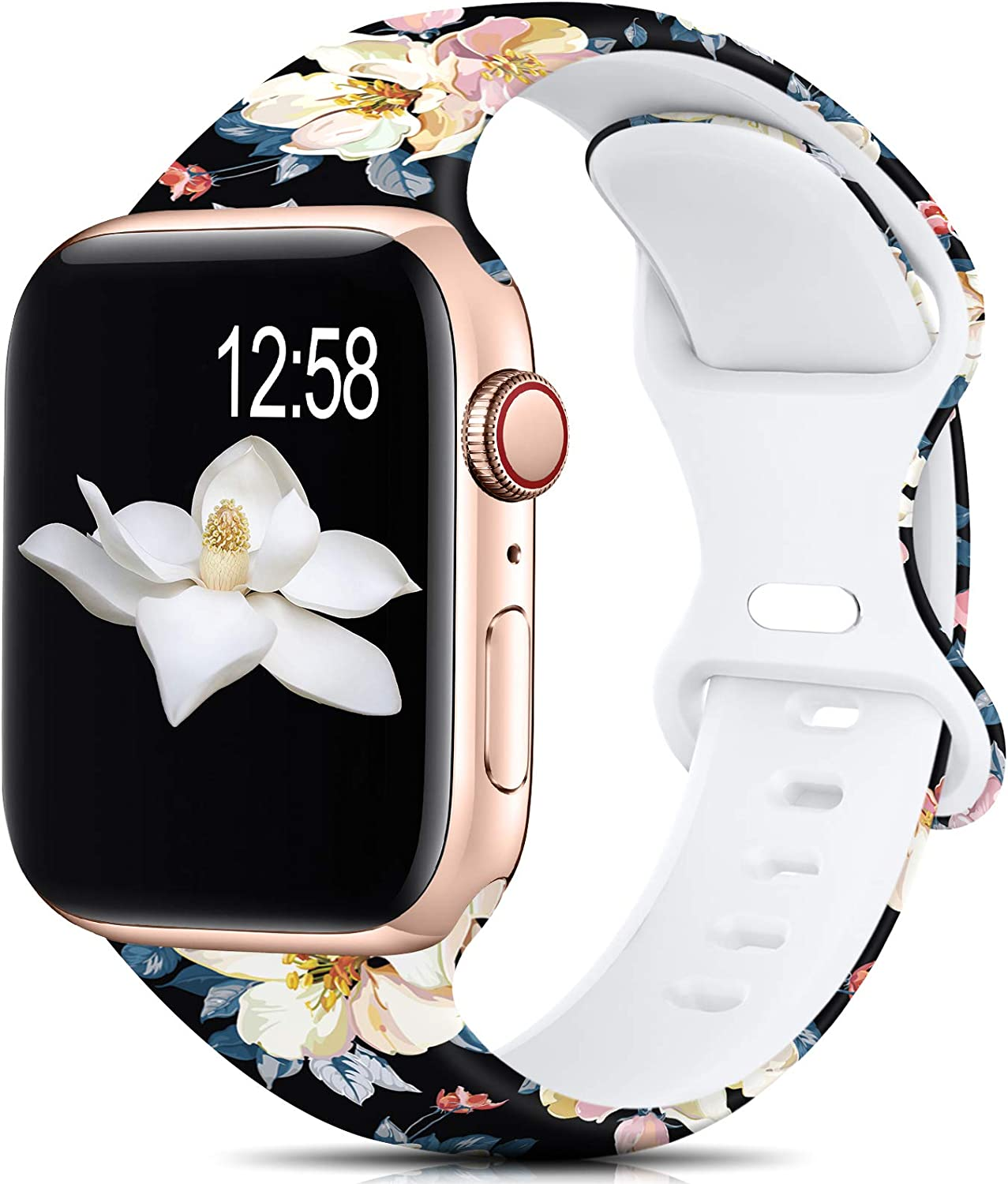 Sport Band Compatible with Apple Watch Bands 38mm 40mm Size for Women Men,Floral Silicone Printed Fadeless Pattern Bands for iWatch Series 6 5 4 3 2 SE