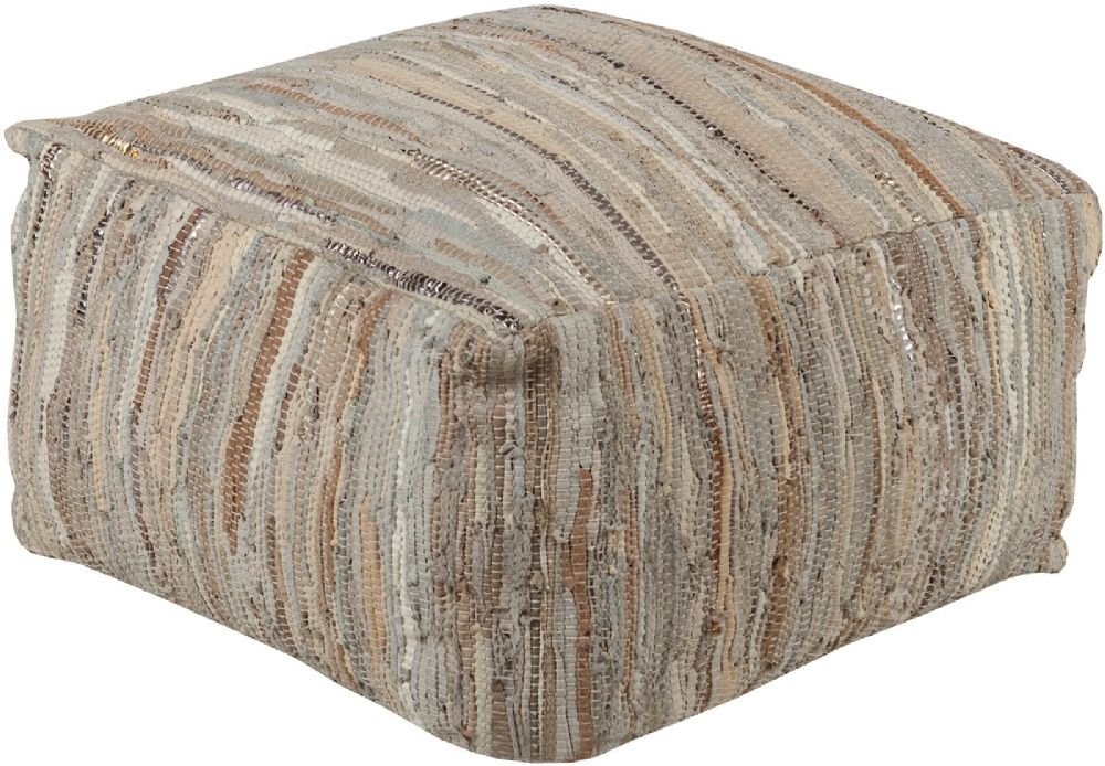 Surya Contemporary Square pouf/ottoman 24''x24''x13'' in Ivory Color From Anthracite Collection