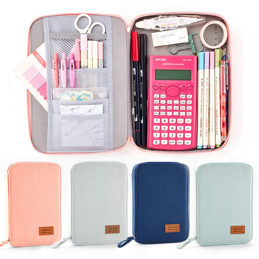 EASTHILL Big Capacity Pencil Pen Case Pouch Box Organizer Large Storage for Bullet Journal Pink