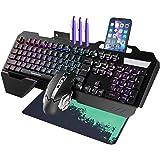 Teclado y Ratón para Juegos, MTQ Combo de Teclado y Mouse con Cable con Alfombrilla para Ratón, Combo de Teclado y Mouse Mecá