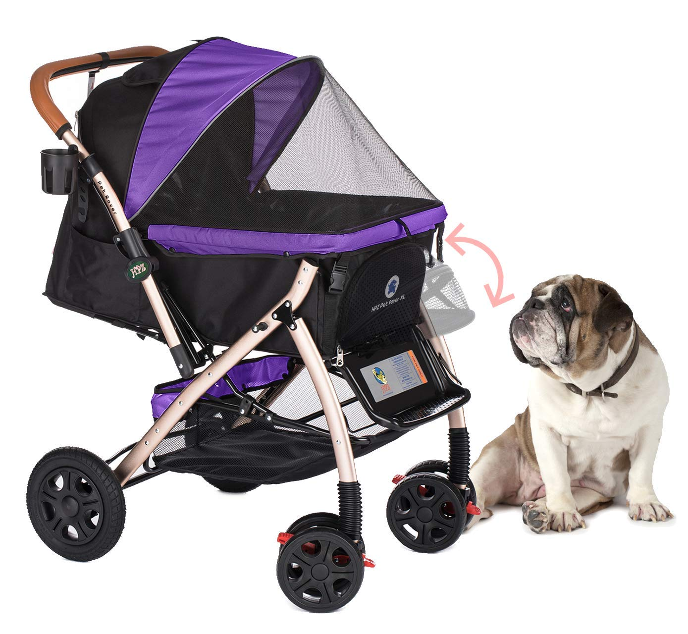 HPZ Pet Rover XL Extra-Long Premium Heavy Duty Dog/Cat/Pet Stroller Travel Carriage with Convertible Compartment/Zipperless Entry/Pump-Free Rubber Tires for Small, Medium, Large Pets (Purple) by HPZ-PR America