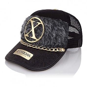 Gorra Fashion Negra con el Frontal de Pelo Gris de la Marca Xtress ...